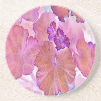 Porta-copos De Arenito Folhas cor-de-rosa do gerânio