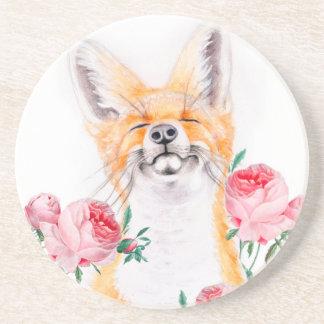 Porta-copos De Arenito Foxy feliz e rosas