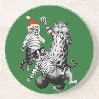 Porta-copos De Arenito Futebol do Natal que joga gatos