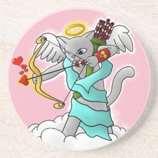 Porta-copos De Arenito Gato cinzento do Cupido de Smokey do dia dos