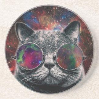 Porta-copos De Arenito Gato do espaço que veste óculos de proteção na