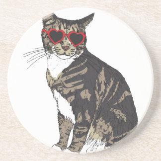 Porta-copos De Arenito Gato que veste vidros do coração
