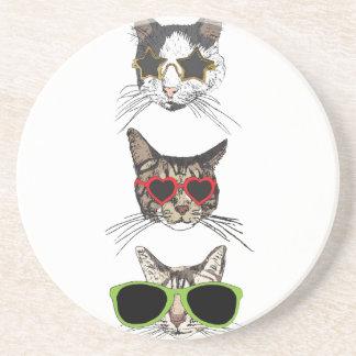 Porta-copos De Arenito Gatos que vestem óculos de sol