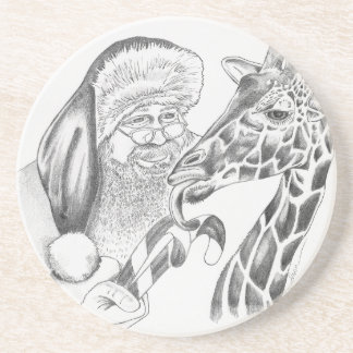 Porta-copos De Arenito girafa e papai noel do Natal