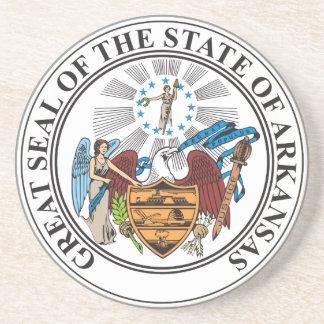 Porta-copos De Arenito Grande selo do estado de Arkansas