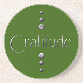 Porta-copos De Arenito Gratitude de prata do bloco de 3 pontos & fundo ve
