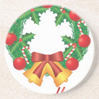Porta-copos De Arenito Grinalda do Natal com ornamento Bels e doces