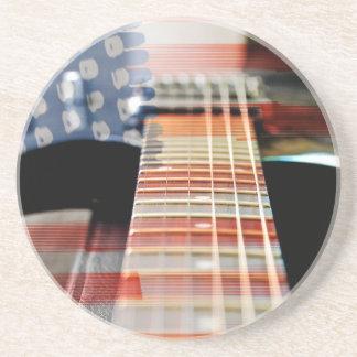 Porta-copos De Arenito Guitarra elétrica da guitarra da bandeira dos EUA