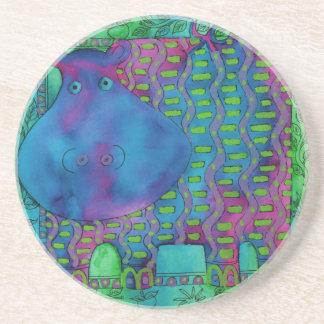 Porta-copos De Arenito Hipopótamo modelado