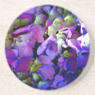 Porta-copos De Arenito Hydrangeas roxos românticos
