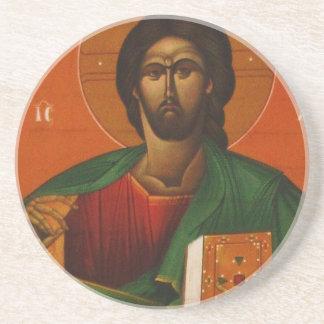 Porta-copos De Arenito Ícone cristão ortodoxo do Jesus Cristo