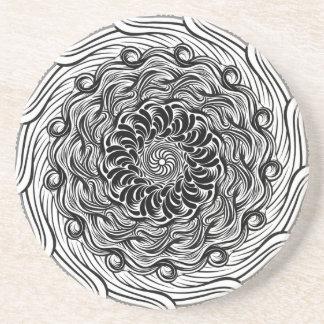 Porta-copos De Arenito Ilusão óptica do Doodle ornamentado do zen preto e