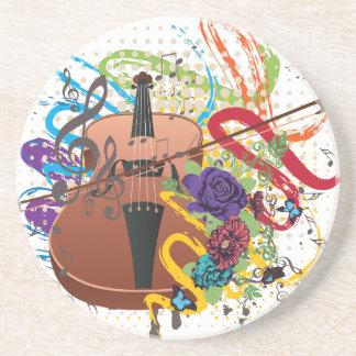 Porta-copos De Arenito Ilustração do violino do Grunge