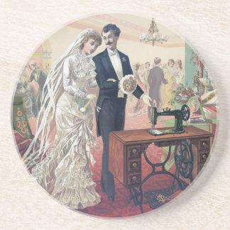 Porta-copos De Arenito Ilustração dos noivos do vintage