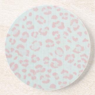 Porta-copos De Arenito impressão animal da selva da chita do rosa de bebê
