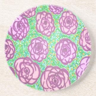 Porta-copos De Arenito Impressão floral do jardim de rosas formal