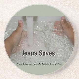 Porta-copos De Arenito Jesus na água com dois polegares levanta a