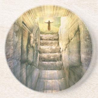 Porta-copos De Arenito Jesus na ressurreição vazia da páscoa do túmulo