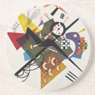 Porta-copos De Arenito Kandinsky na pintura abstrata do branco dois