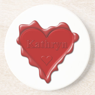 Porta-copos De Arenito Kathryn. Selo vermelho da cera do coração com