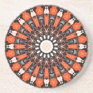 Porta-copos De Arenito Laranja e abstrato do preto