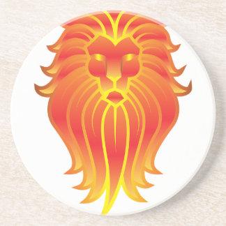 Porta-copos De Arenito Leão customizável do zodíaco de Leo do fogo