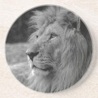 Porta-copos De Arenito Leão preto & branco - animal selvagem