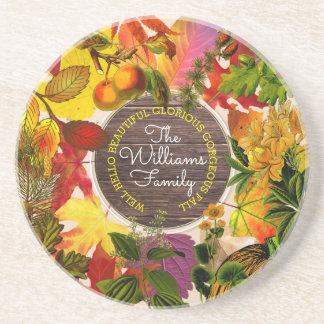 Porta-copos De Arenito Madeira do vintage da colagem das folhas de outono