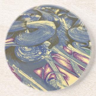 Porta-copos De Arenito Mágica de Printmaking nos azuis e nos roxos