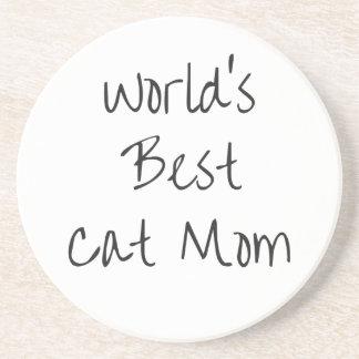 Porta-copos De Arenito Mamã do gato do mundo a melhor - preto