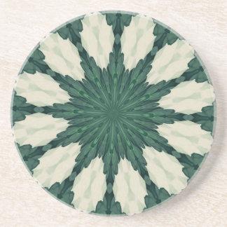 Porta-copos De Arenito Mandala. da folha verde e de prata de Sacramento
