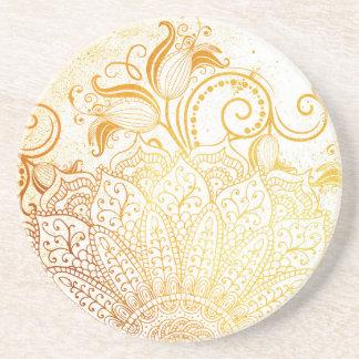 Porta-copos De Arenito Mandala - escova dourada