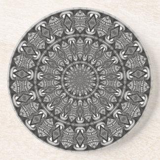 Porta-copos De Arenito Mandala monocromática
