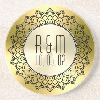 Porta-copos De Arenito Mandala preta do círculo & ouro metálico