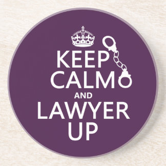 Porta-copos De Arenito Mantenha a calma e o advogado acima (alguma cor)