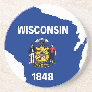 Porta-copos De Arenito Mapa da bandeira de Wisconsin