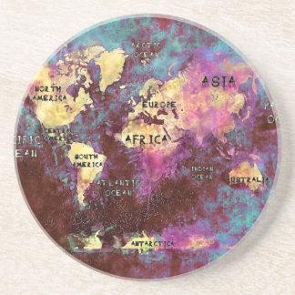 Porta-copos De Arenito mapa do mundo