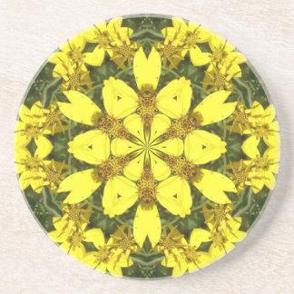 Porta-copos De Arenito margaridas abstratas florais amarelas do design
