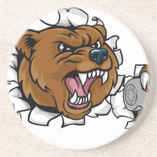 Porta-copos De Arenito Mascote irritada de Esports do urso