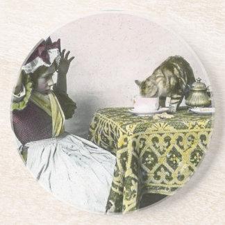 Porta-copos De Arenito Menina de tea party má do vintage do gatinho do