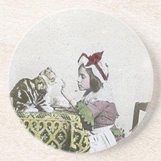Porta-copos De Arenito Menina má do vintage do tea party do Victorian do