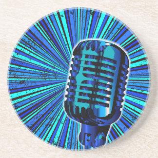Porta-copos De Arenito Microfone retro azul