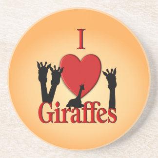 Porta-copos De Arenito Mim girafas do coração