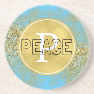 Porta-copos De Arenito Monograma da paz do brilho do falso do ouro do