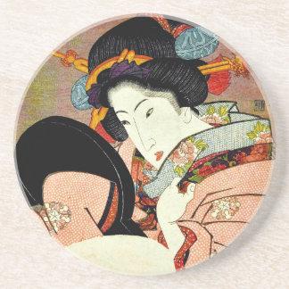 Porta-copos De Arenito Mulher bonita no espelho por Utagawa Kunimaru