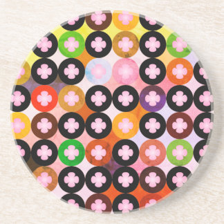 Porta-copos De Arenito Multi círculos coloridos legal & trevos