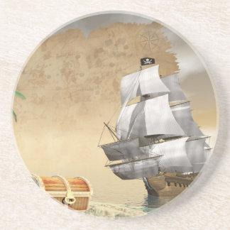 Porta-copos De Arenito Navio de pirata que encontra o tesouro - 3D rendem