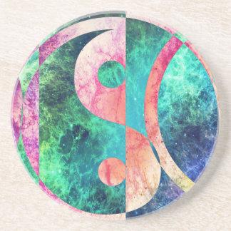 Porta-copos De Arenito Nebulosa abstrata de Yin Yang