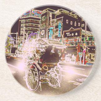 Porta-copos De Arenito Noite do rickshaw de Tokyo