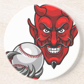 Porta-copos De Arenito O basebol do diabo ostenta a mascote